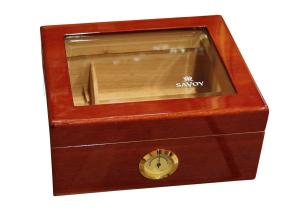 Savoy Humidor Mahogny Glas Small