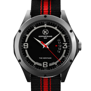Koppartrans Armbandsur silver | röd/svart armband